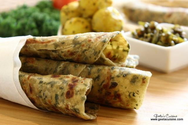 Kale & Spinach Lachha Paratha | Geeta's Cuisine